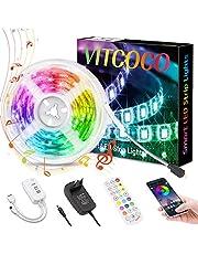 Bluetooth LED Strip VITCOCO 5m RGB LED-Kerstverlichting Striplichttape Met Afstandsbediening, Synchroniseren Met Muziek, for Home, Garden, Decoration