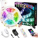 VITCOCO 5M Tira LED Bluetooth, LED Strip 5050 RGB de Impermeable Flexibles Multicolor 300 LEDs Strip Con Mando a Distancia y Adaptador Corriente Para TV/Fiestas