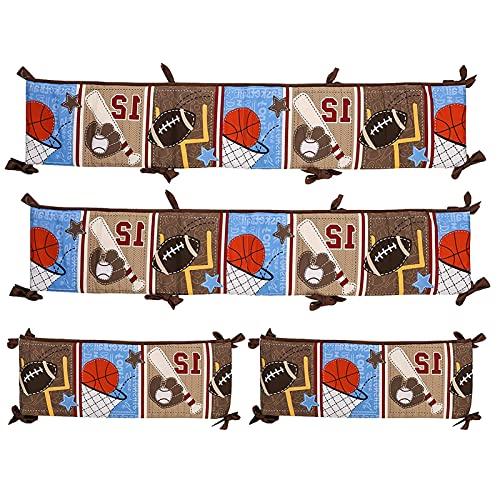 monshop 4 Pieces Protector De Cuna Chichonera Cojin Protector Cuna 100 Algodón Chichonera Bebe Cuna Durable Y Ligero Parachoques Cuna Bebe 130 25 Cm