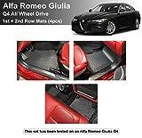 YelloPro Custom fit Heavy Duty Front & 2nd Row (4pcs) Floor Mat for Alfa Romeo Giulia Sedan - Q4 All Wheel Drive - 2017 2018 2019 2020 2021 - All Weather Anti-Slip Black Rubber [Made in USA]
