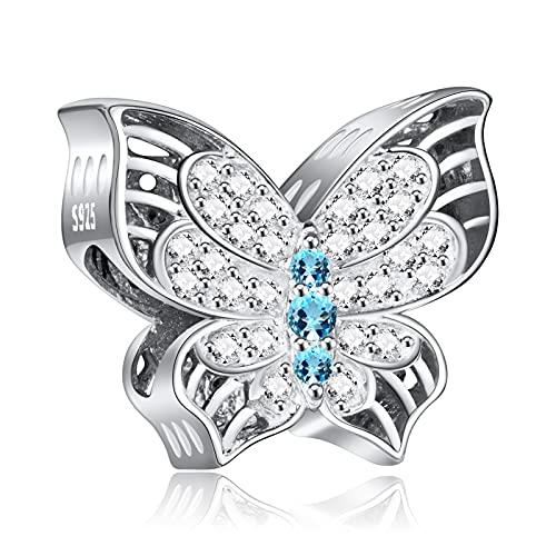 NINGAN Encanto mariposa Abalorios Charms Colgantes de Encanto familia eterna Cuentas Plata de Ley 925 con Compatible con Pulsera Pandora & Europeo, Charms para Mujer Niña