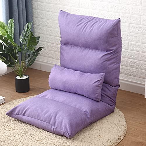cojines para silla,Con cojín,silla plegable acolchada de piso con respaldo ajustable,cojín de asiento grueso,sofá apacible para descansar,para sala de estar,balcón,oficina en casa,122x55x14cm,naranja