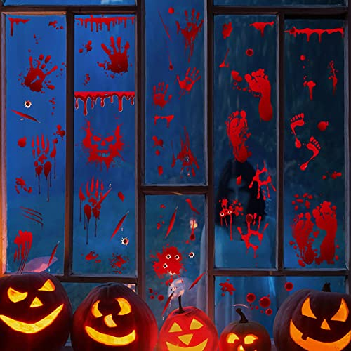 Xlawsfly Halloween Dekoration Halloween Blutige Aufkleber Halloween Dekoration Fenster, Halloween Dekoration Set, Halloween Aufkleber, 9 Blätter für Halloween Party Fenster Bad Dekoration