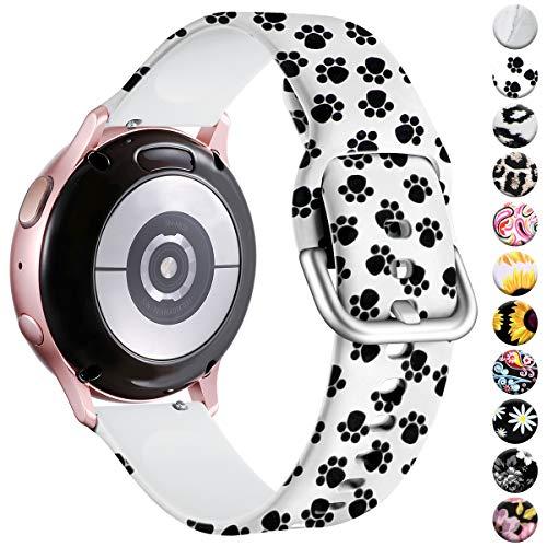 Vobafe Armband Kompatibel mit Samsung Galaxy Watch Armband, Fadeless Gedruckt Silikon Ersatzarmband für Galaxy Watch Active 40mm/Active 2 52mm/Gear Sport Uhrenarmband, Katze Pfote