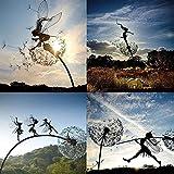 Garten-Silhouette, Fee und Löwenzahn, tanzt zusammen, Skulptur, Gartenfee, Dekoration mit dem Pusteblumen-Motiv, Metallkunst, Elfen-Silhouette, Ornament (4 Stück)