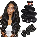 Simei 8A Brazilian Virgin Hair Body Wave 3 Bundles with Closure Brazilian Body Wave Hair 100% Unprocessed Human Hair Weave with Three Part Lace Closure Hair Extensions(12 14 16+10 Three Part)