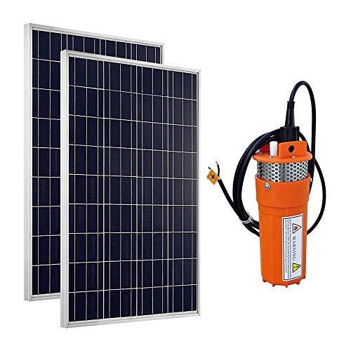 DCHOUSE Kit de bomba de agua solar: bomba de 24 V sumergible y 2 unidades de 100 W con panel solar de policristalino para fuente de agua.