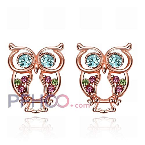 JY a Pair of Ladies Fashion K Gold/Owl Earrings/Rose Gold/Jewelry/Hypoallergenic/Small Delicate/Color Diamond Unique/As Shown