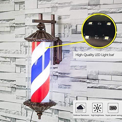 Barber Pole Light Lámpara A Prueba De Agua Rojo Blanco Azul Giratorio Rayas Iluminadas Luz Montada En La Pared Peluquería Letrero De Peluquería
