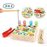 OYMMENEY Holzspielzeug 3 In 1 Angelspiel Montessori Spielzeug Lernspielzeug Magnettafel...