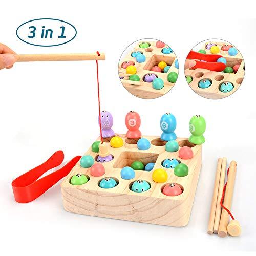 OYMMENEY Holzspielzeug 3 In 1 Angelspiel Montessori Spielzeug Lernspielzeug Magnettafel Kinderspielzeug für Kinder ab 3 Jahre
