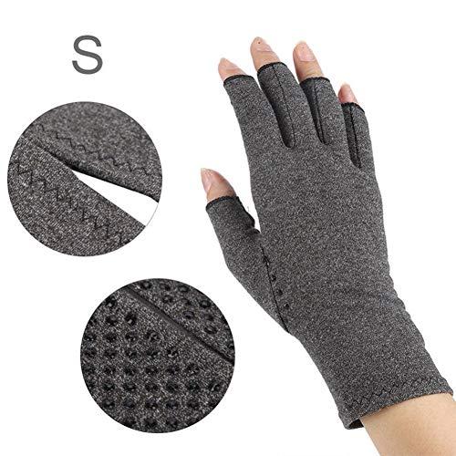 Arthritis Handschuhe (Paar) – rheumatische Arthritis Kompressionshandschuhe für Schmerzlinderung, Gaming Tippen, Fingerlose Handschuhe für Männer und Frauen (Grau, S)