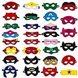 30pcs Superhero Felt Masks for Kids Party Cosplay Superhero Masks with Elastic Rope Party Favors...