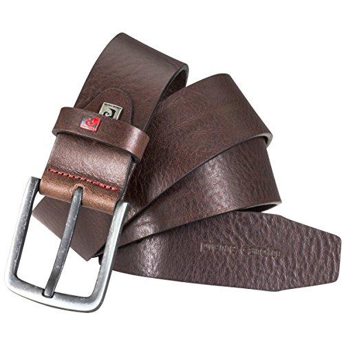Pierre Cardin Cinturón de piel para hombre, cinturón de piel vegana, color marrón oscuro marrón 90