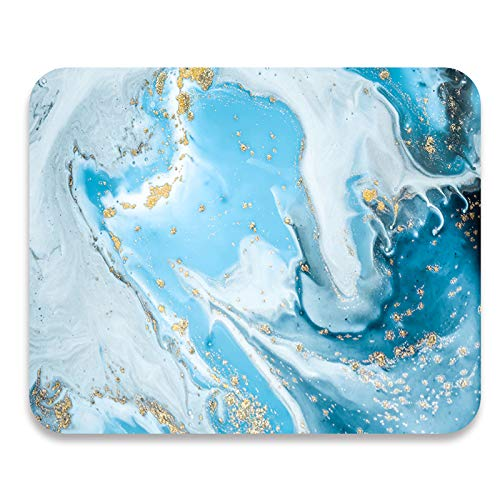 BOERLI Rectangle Blue Gold Marble Mouse Pad,Non-Slip Rubber Base Ocean Mouse Mat for Laptop,PC Office Working Gaming