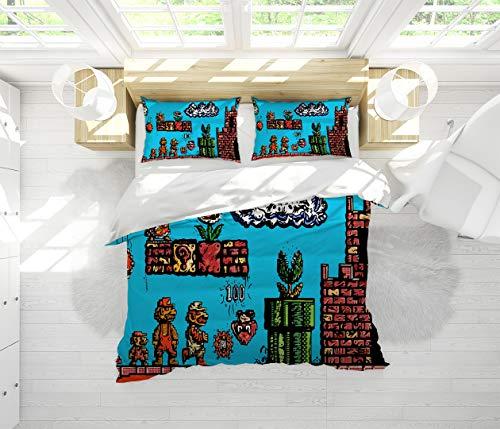 Super Mario Bros Sheet Set-3 Piece Set,Bedding Set Queen Size 100% Cotton Bedding