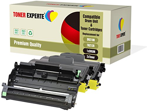 3-er Pack TONER EXPERTE® Trommel & 2 Toner kompatibel zu DR2100 TN2120 für Brother DCP-7030 DCP-7040 DCP-7045N HL-2140 HL-2150 HL-2150N HL-2170 HL-2170W MFC-7320 MFC-7340 MFC-7440N MFC-7840W