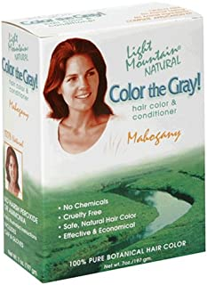 Light Mountain Natural Color The Gray! Hair Color & Conditioner, Mahogany, 7 oz (197 g) (Pack of 2)