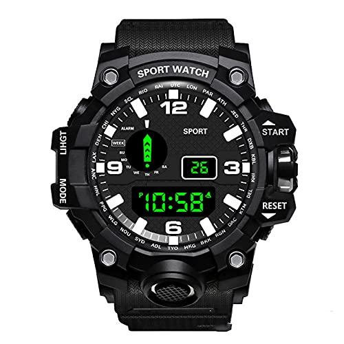Chahu Reloj digital LED de negocios para hombre que brilla en la oscuridad, calendario impermeable, esfera redonda, reloj deportivo de regalo
