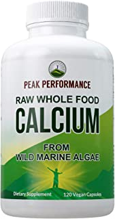 Raw Whole Food Vegan Calcium Supplement by Peak Performance. Plant Based Calcium with Vitamin C, D3, K, Magnesium. Capsule...