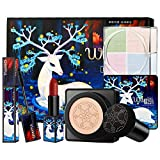 Caja de regalo de productos de maquillaje Cutelove para Navidad, juegos de maquillaje, lápiz labial mate, polvo suelto, rímel negro, base de maquillaje BB Cream Festival, paquete de regalo