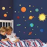 Wallpark Sistema solar Exterior Espacio Planeta Estrellas Desmontable Pegatinas de Pared Etiqueta de la Pared, Bebé Niños Hogar Infantiles Dormitorio Vivero DIY Decorativas Arte Murales