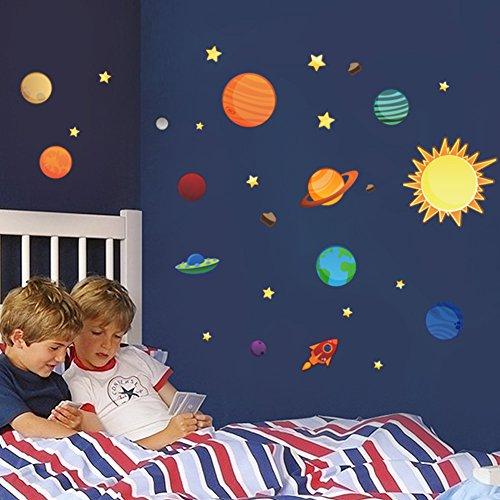 Wallpark Solaire Système Extérieur Espace Planète Étoiles Amovible Stickers Muraux Autocollants, Enfants Bébé Chambre Pépinière DIY Décoratif Adhésif Stickers Mural
