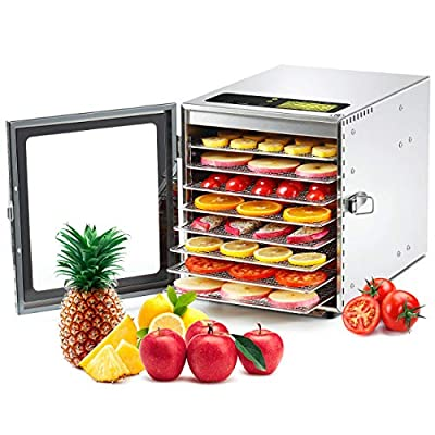 Colzer Food Dehydrator Machine 8 Stainless Steel Trays Adjustable Thermostat Digital Food Dehydrator for Beef, Jerky, Fruit, Dog Treats, Herbs