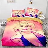 3pc Duvet Cover Set Marilyn Monroe Duvet Cover Printing Quilt Cover Polyester Bedding Set Comforter Cover Light-Weight Microfiber Single Size for Children