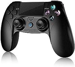 Gamory Mando Inalámbrico para PS4, Mando para PS4/Pro/Slim/ PC, Controlador inalámbrico, Gamepad Wireless Bluetooth Controlador Joystick con Vibración Doble/Turbo/ Puerto de Audio/ Pantalla LED
