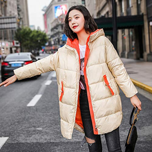 FAPROL-Down Jackets Longues Doudounes pour Femmes Manteaux Chauds avec Capuche, Veste en Duvet De Canard Design Élégant À Manches Raglan Beige S