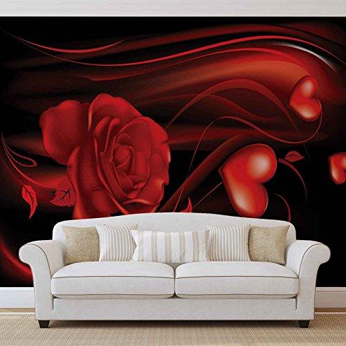 Herz Rose Abstrakt - Forwall - Fototapete - Tapete - Fotomural - Mural Wandbild - (300WM) - XL - 254cm x 184cm - Papier (KEIN VLIES) - 2 Pieces