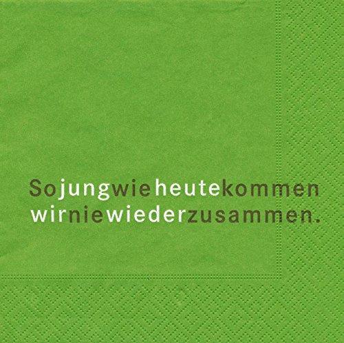 AvanCarte Servietten Spruch Text So jung wie Heute 20 Stück, 3-lagig 33x33cm