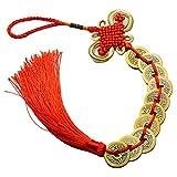 Bingxue Nudo chino Feng Shui Lucky Riqueza 3/6/8/9/10 monedas para el hogar coche colgante borla, campanillas de viento, rojo (5)