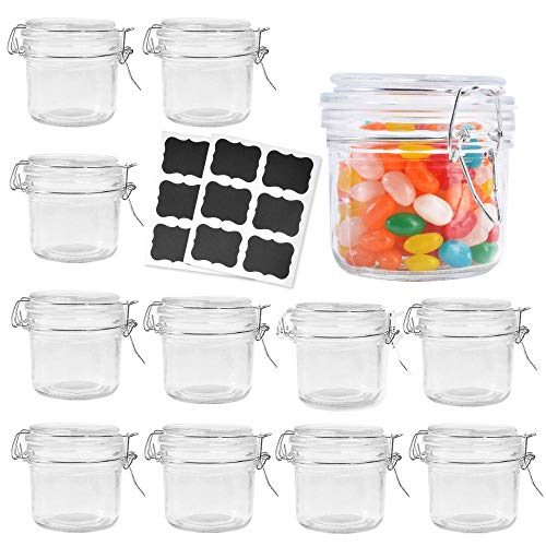 Betrome 8 oz Airtight Glass Jars with Rubber Gasket Lid, Small Storage Glass Canister with Hinged Lid for Kitchen, Bathroom Multipurpose Small Jar(12 Pack)
