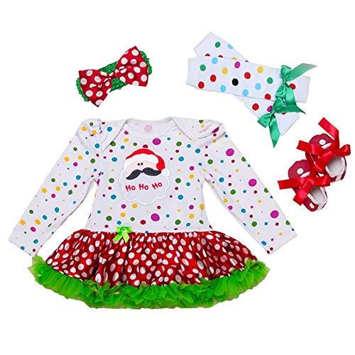 Ynnxia 4 STKS Set Kerst Jurk Baby Meisjes Lange Mouw Rok Katoen Jumpsuit Romper Kleding Groen Kant voor 0-24 Maand Meisje
