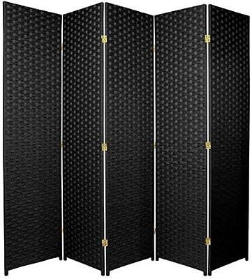 Amazon Com Oriental Furniture 4 Ft Tall Woven Fiber Room Divider Dark Mocha 3 Panel Furniture Decor
