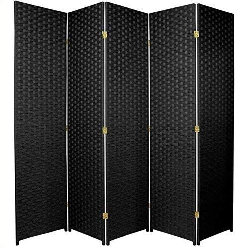 Oriental Furniture 6 ft. Tall Woven Fiber Room Divider - 5 Panel - Black