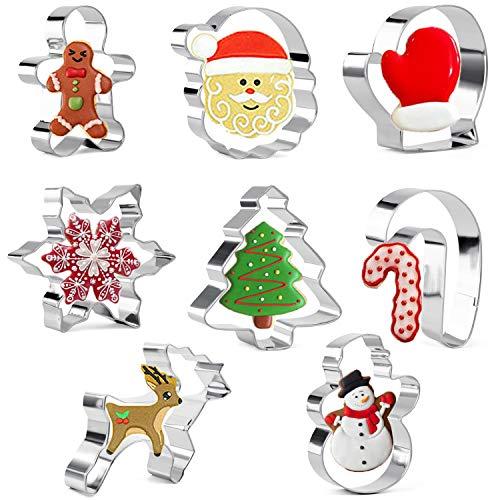 Olywee 8 stuks, koekjesvormen, kerst, peperkoekman, sneeuwvlok, sneeuwpop, kerstboom, kerstmangezicht, rendier, want en zuurstok, set roestvrij stalen koekjessnijders