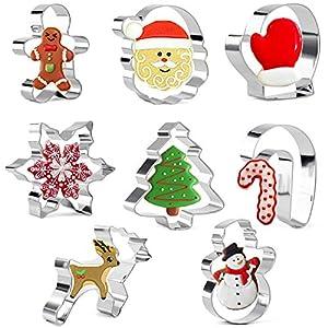 Olywee - Juego de cortadores de galletas (8 piezas, forma de pan de jengibre, muñeco de nieve, árbol de Navidad, cara de Papá Noel, reno, manoplas y bastón de caramelo, acero inoxidable
