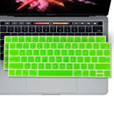 2PK - SOJITEK Keyboard Cover for MacBook New Pro 13' 15' (A1706 A1707 A1708) with/Without Touch Bar Released 2016 10 Silicone Keyboard Skin Protector - Green