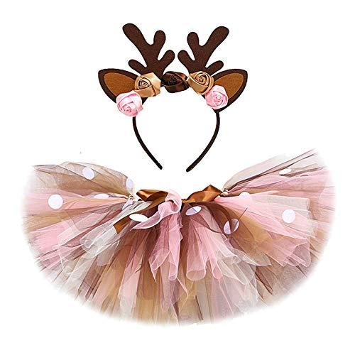 GuanRen Baby Girls Ciervo Tutu Falda Traje para Niños Navidad Reno Traje Niño Niña Niñera Ropa Niño Cumpleaños Tutus 0-14Y (Color : Skirt with Headband, Size : 7T)