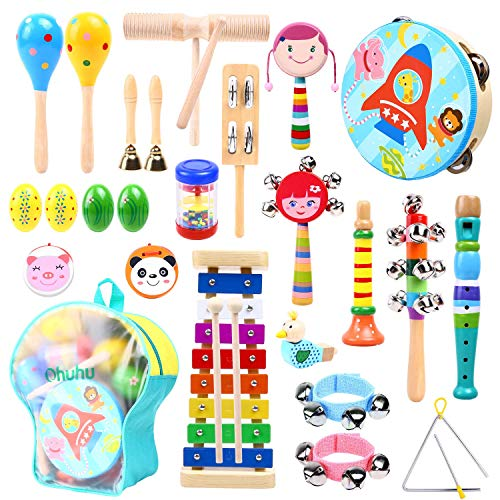 Ohuhu 27 Stück Musikinstrumente Musical Instruments Set, Spielzeug von Holz Percussion Schlagzeug Schlagwerk Rhythmus Band Werkzeuge für Kinder und Baby