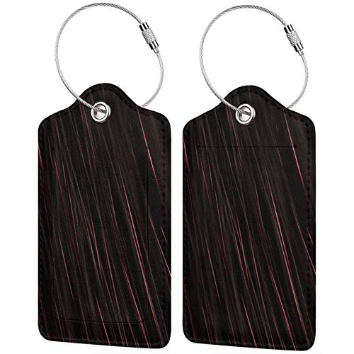 FULIYA Travel Luggage Suitcase Labels ID Tags Business Card Holder, Set of 2,Stripes, Lines, Neon, Threads