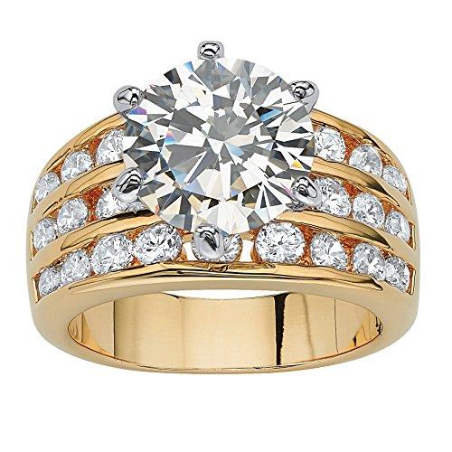 Palm Beach Jewelry Goldtone Round Cubic Zirconia Triple Row Engagement Ring