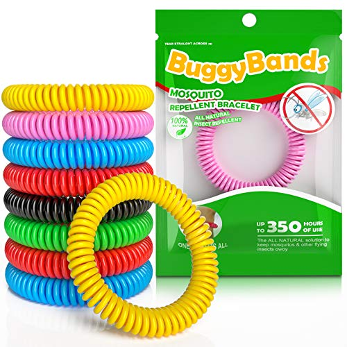 BuggyBands Mosquito Bracelets, 48 Pack Individually Wrapped, DEET Free, Natural and Waterproof Band