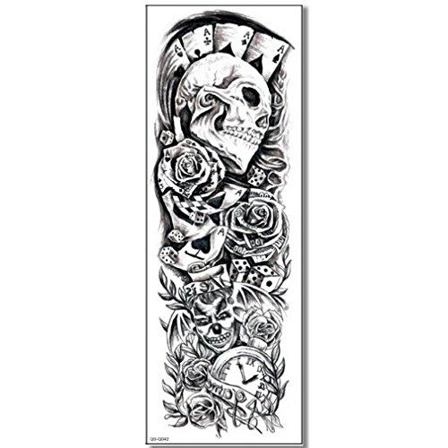 EROSPA® Tattoo-Bogen temporär - Poker Totenkopf Spiel Game Rosen - 48 x 17 cm