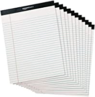 Amazon Basics Legal/Wide Ruled 8-1/2 by 11-3/4 Legal Pad - White (50 Sheet Paper Pads, 12 pack)
