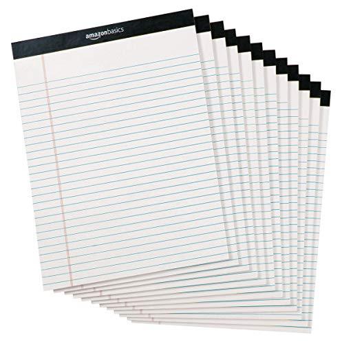 Amazonベーシック ワイド罫リーガルパッド 21.6cm×29.8cm ホワイト50枚×12冊