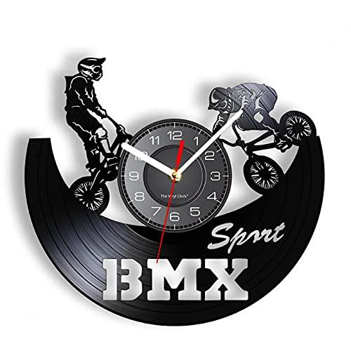 KDBWYC Reloj de Pared Deportes Extremos Disco de Vinilo Racing Bike Race Decoración del hogar Juventud 3D Creativo Clásico Freestyle Motocross sin LED